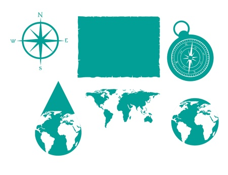 Differents icons about orientation in the world. vector illustrator Vector
