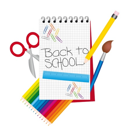 back to school with elements isolated. vector illustration Stock Vector - 11986346