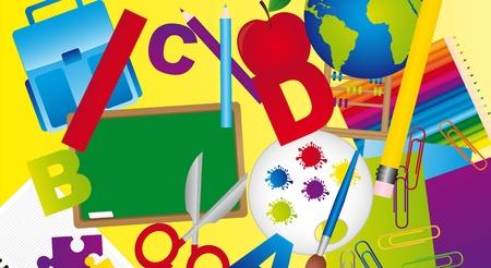 classroom supplies: los elementos de la escuela m�s de fondo amarillo. ilustraci�n vectorial
