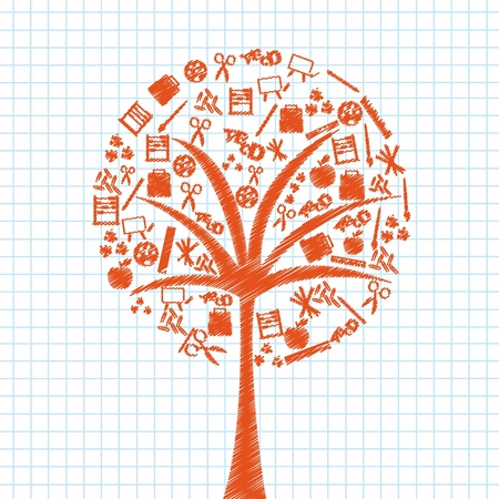 orange tree conceptual with school elements over notebook.vector illustration Stock Vector - 11980352