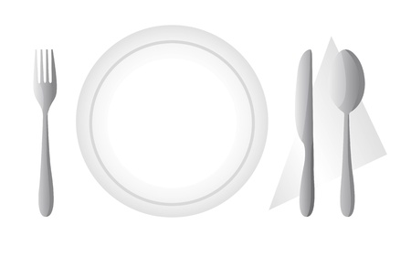 cutlery and dish isolated over white background. vector Vector