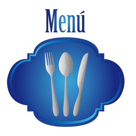 silver cutlery over blue tag isolated over white background. vector Vector