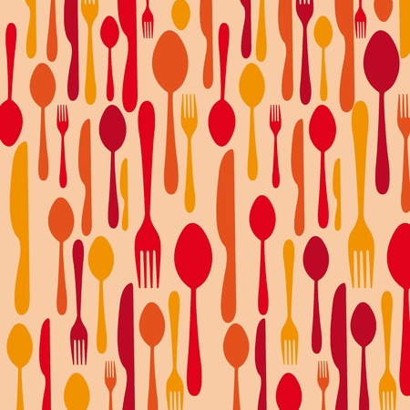 eating utensil: cutlery over orange background. vector illustration