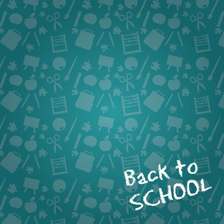 classroom supplies: chalkboard with sillhouette,back to school background. vector illustration