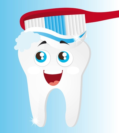 molar: tooth with toothbrush over blue background. vector illustration Illustration