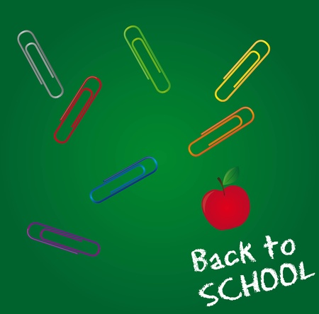 clips and apple over chalkboard, back to school. vector illustration Vector