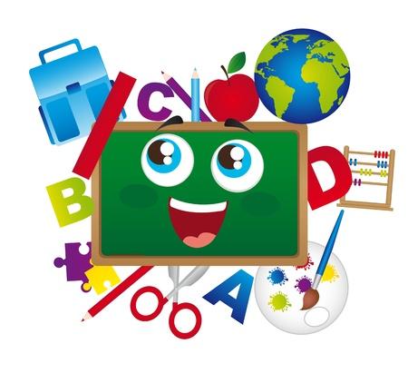 cartoons designs: cartone animato lavagna della scuola con elementi isolati. vettore