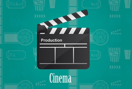 cineme wood board over aqumarine background. vector illustration Vector