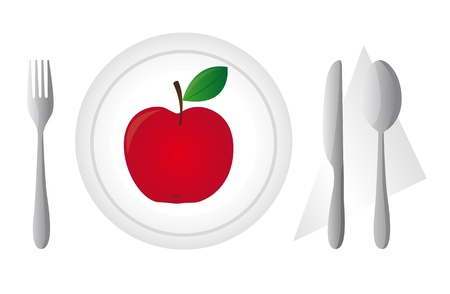cutlery with dish and red apple isolated. vector illustration Vector