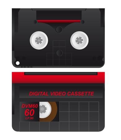 Old digital cideo cassette on white background, illustration Ilustrace
