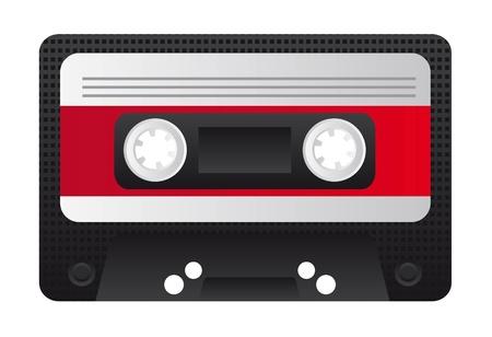 Old audio cassette on white background, illustration Vector