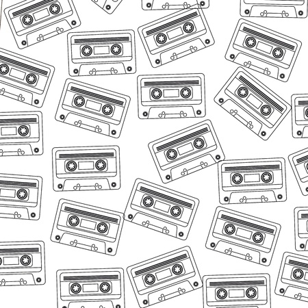 eighties: Retro audio cassette background, black and white illustration