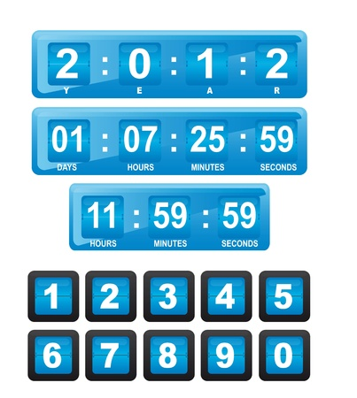 digital clock: Blue display with numbers on white background, illustration
