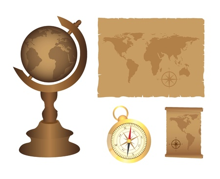 orientate: Earth, map and compass objects on white background, illustration Illustration