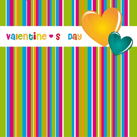 Valentines day card with hearts and colors striped background Stock Vector - 12102440