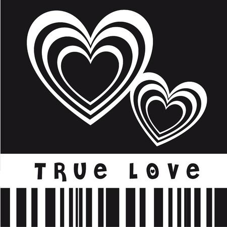 Ilustración de El verdadero amor con el corazón, la imagen en blanco y negro