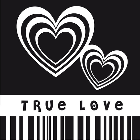 love card: True love illustration with hearts, black and white image
