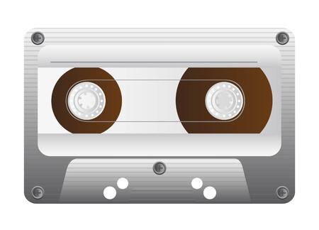 Casetes de audio Antiguo en el fondo blanco, ilustración retro