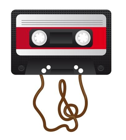 grabadora: Retro casetes de audio con la clave de sol en la cinta