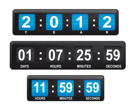Blue and black display with numbers with date and hour, illustration and editable