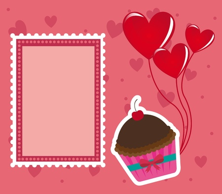 Pink Cakes with blank stamp illustration, card for valentines day Stock Vector - 12102458