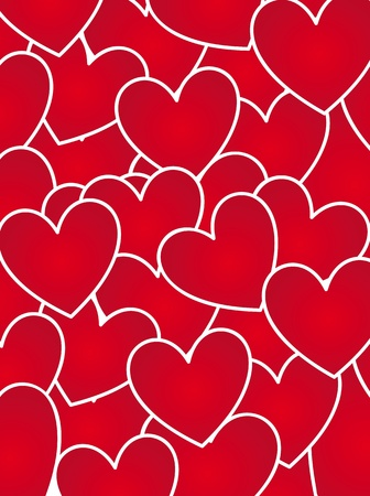 Red hearts background, illustration, valentines day card Vector