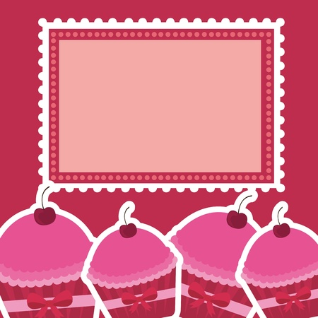 Pink Cakes with blank stamp illustration Stock Vector - 12102437