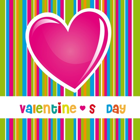 Valentines day card with hearts and colors striped background Vector