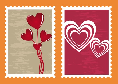 Heart stamps cards for valentines day, illustration Vector