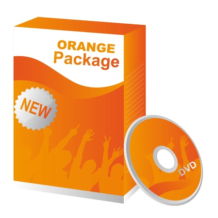 Orange package with box and dvd, illustration Vector