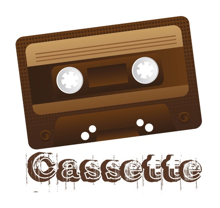 nformation: Retro audio cassette on white background, illustration Illustration
