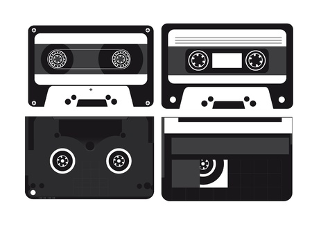 nformation: Audio and video cassettes on white background, silhouettes illustration