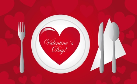 Cutlery with heart on dish, valentines day card, illustration Vector