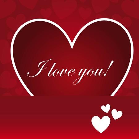 saint valentin coeur: Coeur avec je t'aime texte, fond rouge Illustration