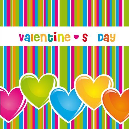 saludo: Los colores del d�a de San Valent�n con las l�neas y los corazones, ilustraci�n Vectores