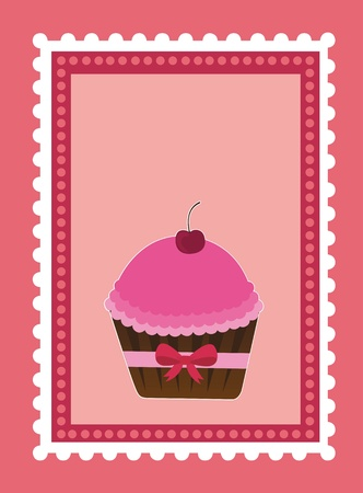 Cake on pink stamp with space to insert text or design Stock Vector - 12102465