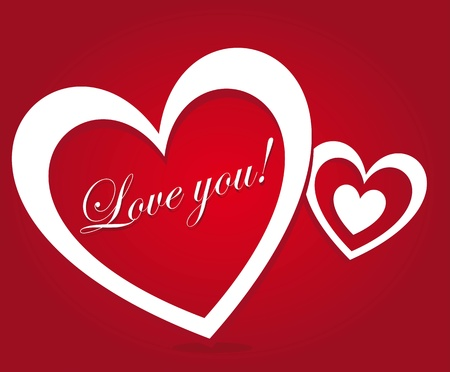 love you: White heart with love you message on red background, illustration