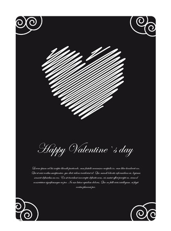 Happy valentines day card on black and white, space to insert your text Stock Vector - 12102491