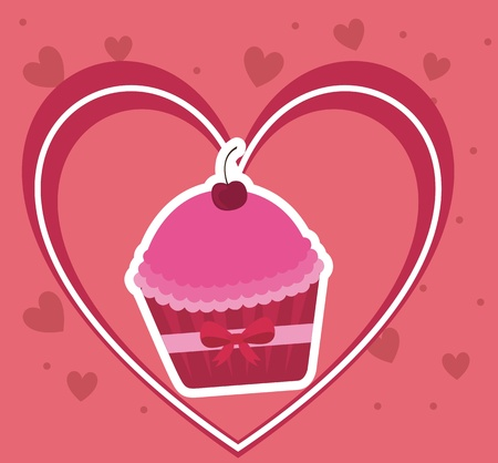 Cake on pink heart, valentines day card Vector