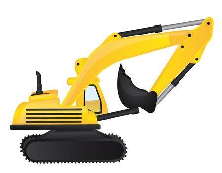 yellow tractor: Tractor Amarillo y negro sobre fondo blanco ilustraci�n,