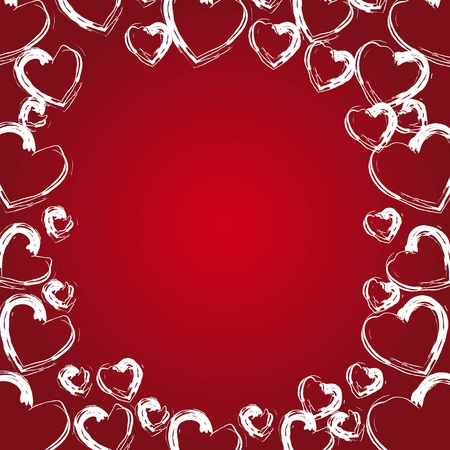 white hearts frame on red background, space to insert text or design Vector