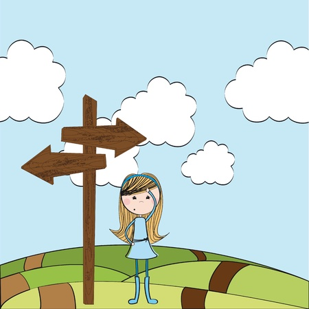 cute girl thinking over landscape. illustration Vector
