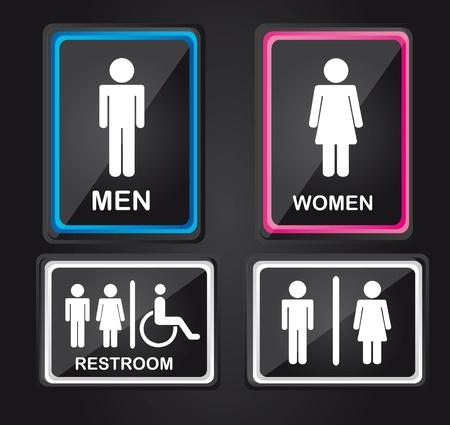 washroom: hombres de raza negra y el signo mujer aislada sobre fondo negro. Vectores