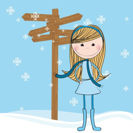 cute girl with wooden sign over snow. illustration Vector