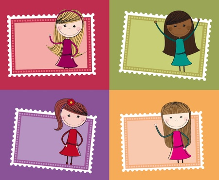 young girl: cute stamps with girls isolated background. illustration