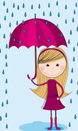 spring coat: cute girl with umbrella and raindrops over blue background.