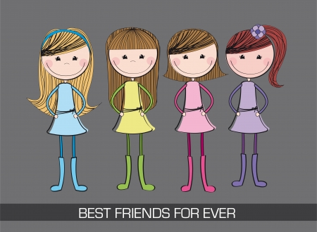 young girl: four cute girls over gray background. illustration