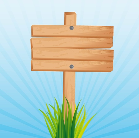 wooden sign with grass over blue background. illustration Vector