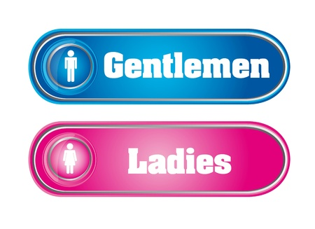 gentlemen and ladies signs isolated over white background.  Vector
