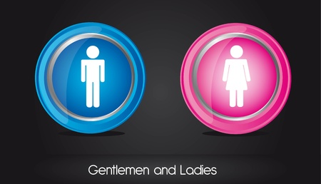 restroom sign: gentlemen and ladies circle sign over black background.